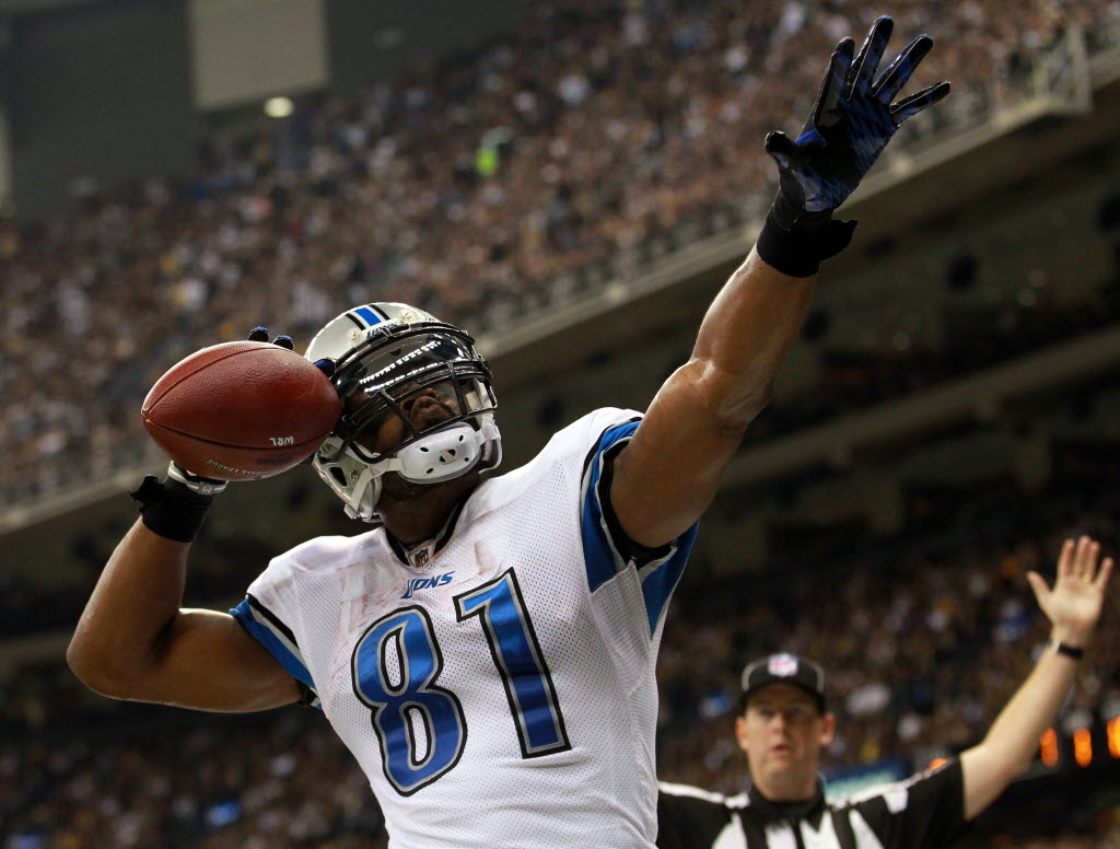 1427186 bytes; 3858 x 2927; NEW ORLEANS, LA - JANUARY 07:  Calvin Johnson #81 of the Detroit Lions celebrates after scoring a to