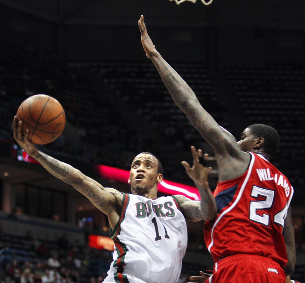 1640887 bytes; 3264 x 3032; Milwaukee Bucks#11 Monta Ellis gets past   Atlanta Hawks #24 Marvin Williams to help the Bucks beat