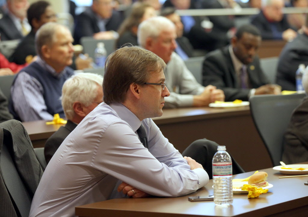 1333553 bytes; 3250 x 2294; Milwaukee County Executive Chris Abele listen as State Rep. Joe Sanfelippo, (R-West Allis) and Milwa