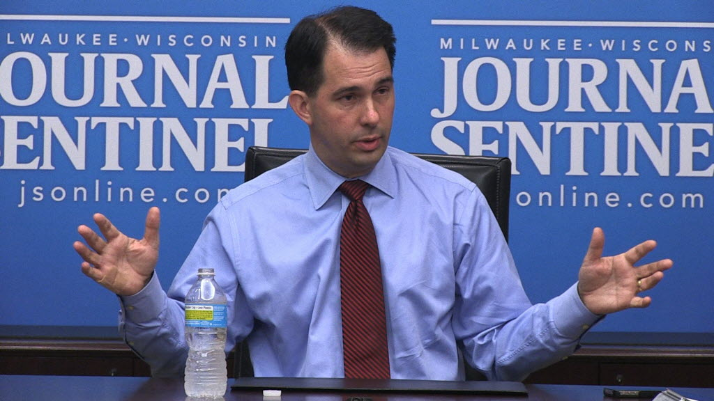 285380 bytes; 1920 x 1080; Video framegrab of Wisconsin Governor Scott Walker talking with Journal Sentinel reporters and edito